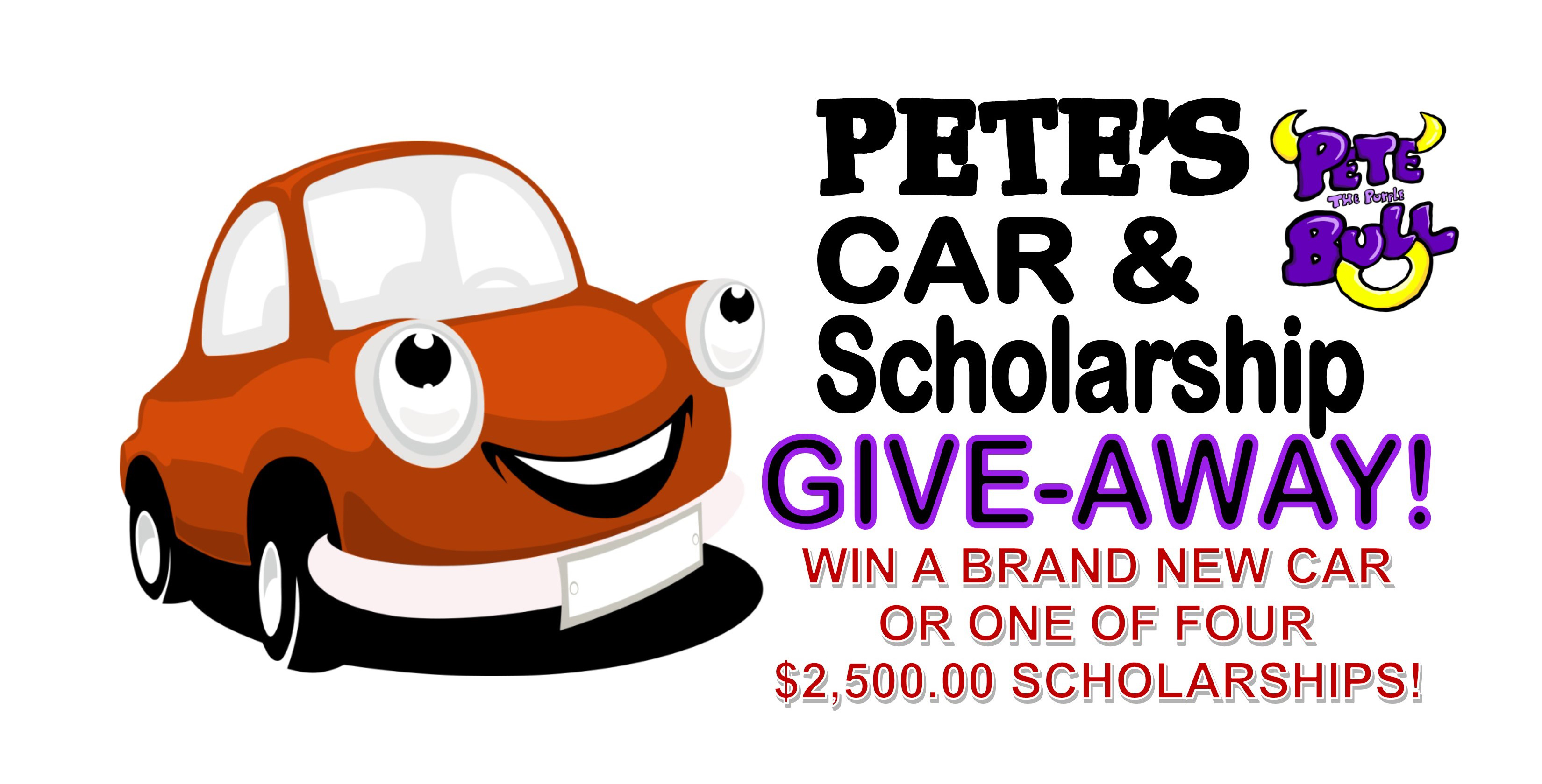 Photo of a stock image car with the words 'Pete's Car and Scholarship Give-Away! Win a brand new car or one of four $2,500.00 scholarships!'