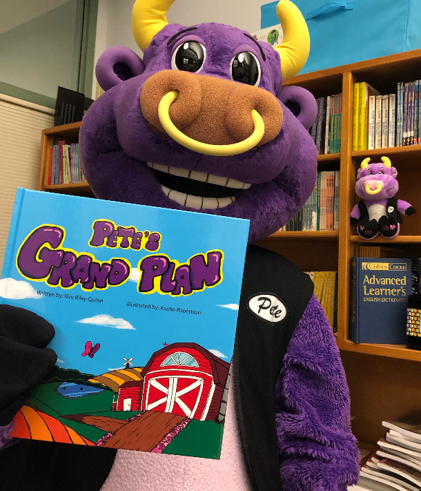 Pete the Bull with his book, Pete's Grand Plan
